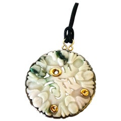 Jade 24 Karats Gold-Plated Silver Sterling Pendant Cloth Necklace Unique Piece