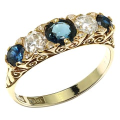 Victorian 18kt Gold Ladies Ring with Blue Sapphires and Diamonds