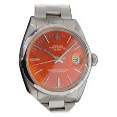 Mens Rolex Oyster Perpetual Date 1500 Automatic 1960s Custom Orange RA176