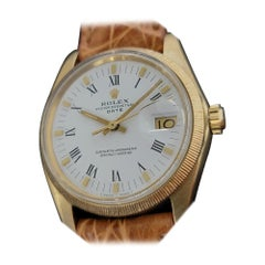 Mens Rolex Oyster Perpetual Date 1507 18k Solid Gold Automatic 1960s RA218