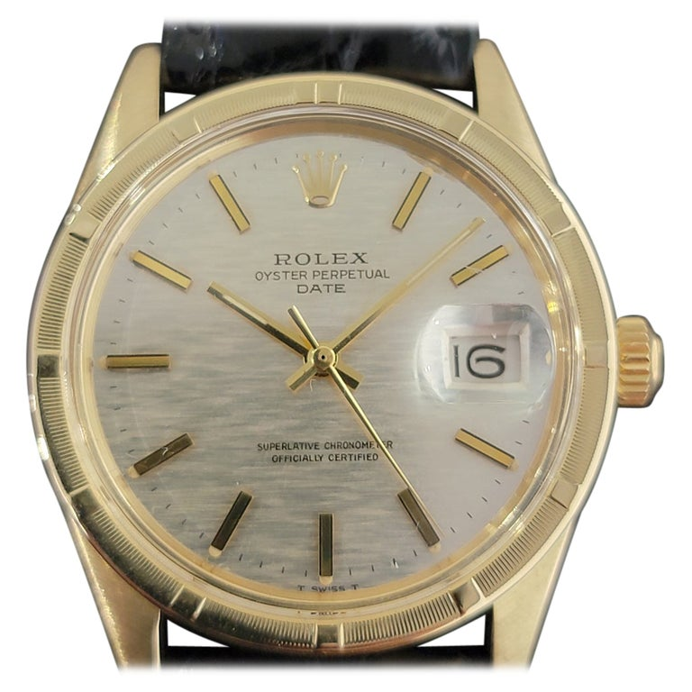 Mens Rolex Oyster Perpetual Date 1501 14k Solid Gold Automatic 1970s RA220 For Sale