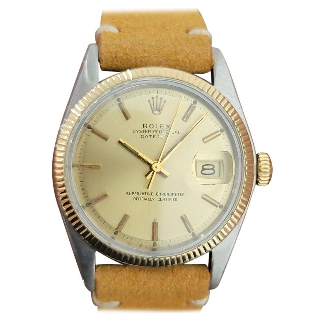 Mens Rolex Oyster Datejust 1601 18k SS Automatic 1970s Vintage Swiss RA228