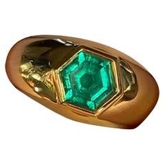 2 Carat Colombian Emerald Hexagon Signet Ring