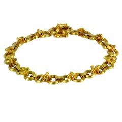 14 Karat Yellow Gold Open Loop Rope Twist Link Bracelet