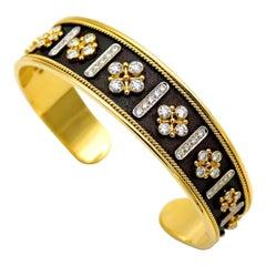 Dimos 18k Gold Byzantine Cuff Bracelet with Brilliant Diamonds