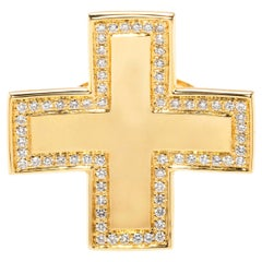 18Kt Yellow Gold and Diamonds Cross Ring