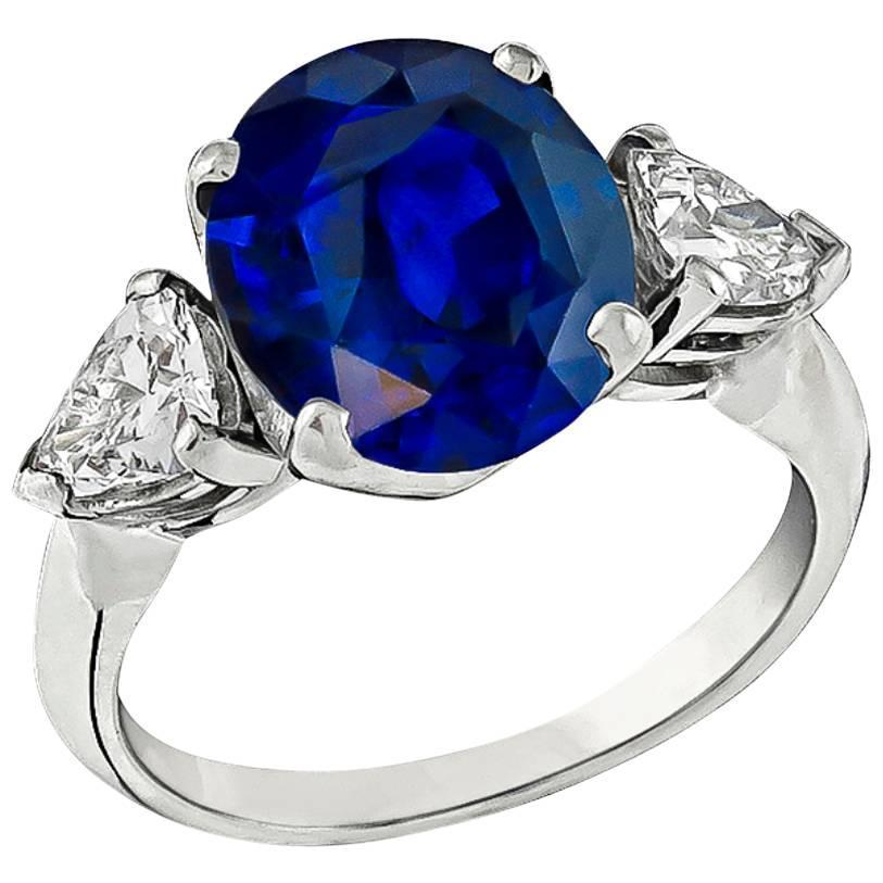 3 72 Carat Cushion Cut Sapphire Diamond Platinum Engagement Ring For Sale at