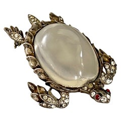 Vintage 1940's Trifari Jelly Belly Sea Turtle Sterling Silver Brooch Pin