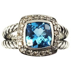 David Yurman Sterling Silver Blue Topaz and Diamond Ring