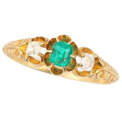 Victorian 18ct Yellow Gold Emerald and Diamond Three Stone Ring, circa 1900
