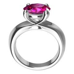 Platinum 3.63 Carat Pink Sapphire Teardrop Ring