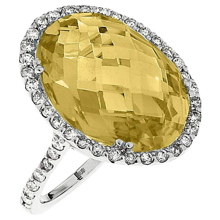 13.77 Carat Honey Quartz Diamond Gold Oval Ring