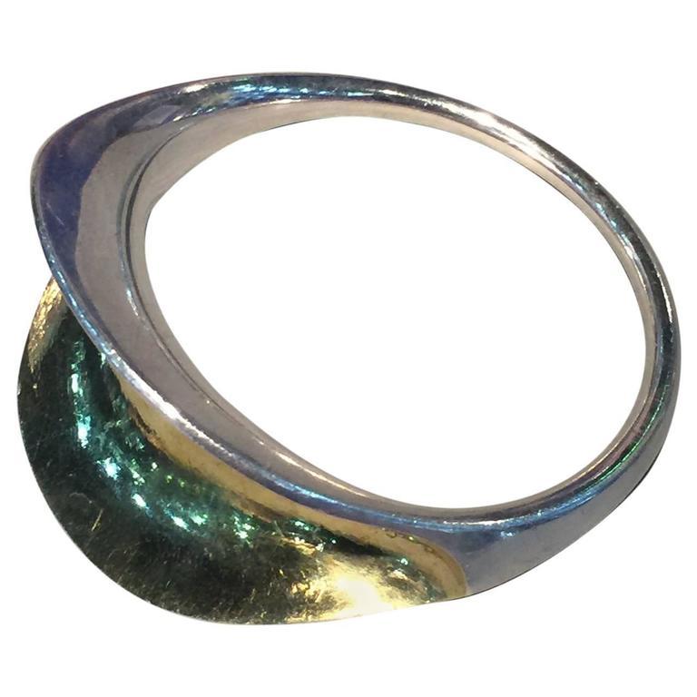 Hans Hansen Very Rare Sterling Silver Modernist Bangle Bracelet No. 251
