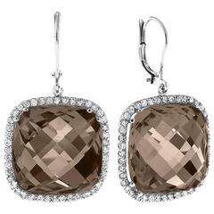 40 Carat Smokey Quartz Diamond Gold Earrings