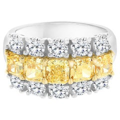 4.43 Carat Fancy Yellow Radiant Cut and White Diamond Band Ring