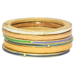 18K 22K Recycled Gold Enamel Ring Stack Fashion Wedding Gift for Her or Him