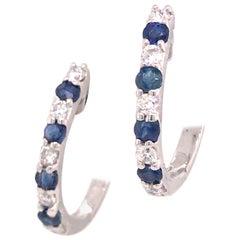 14K Diamond and Sapphire Huggie Earrings White Gold