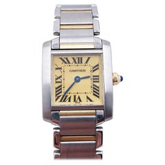 Cartier Ladies Tank Francaise Ref 2300 Cream Dial 18K Yellow Gold Stainless