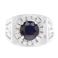 4.50 Carats Natural Diamond & Blue Sapphire 14K Solid White Gold Men's Ring