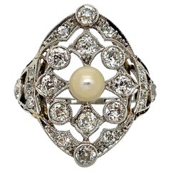 Gorgeous Antique Platinum Pearl and Diamond Ring, 2.00ct