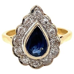 Vintage 18K Yellow Gold Diamond and Pear Sapphire Ring, 1.60ct