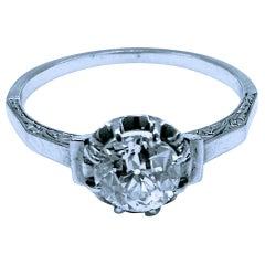 Antique Ring Solitaire Old Mine Diamond Cut White Gold 18 Karat