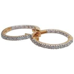 10k 14k 18k Solid Gold Diamond Huggie Hoop Tiny Diamond Hoop Earring