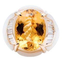 Baguettes Diamonds,Heliodor, White Stones,18 Karat Yellow Gold Retrò Ring