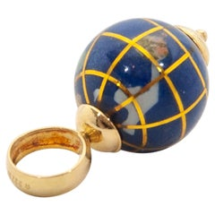 Italian 18K Gold Enamel Aventurine Jasper Peridot Globe Pendant