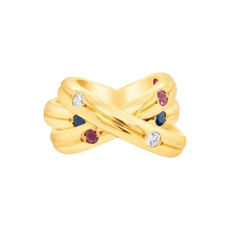 Cartier Ruby, Sapphire & Diamond 18 Karat Trinity 3 Band Ring