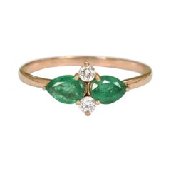 10k 14k 18k Solid Gold Pear Shape Emerald and Diamond Thin Dainty Ring