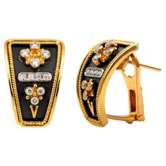 Dimos 18k Gold Byzantine Inspired Earrings with Brilliant Diamonds