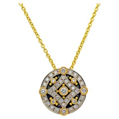 Dimos 18k Gold Pendant in Necklace with Brilliant Diamonds
