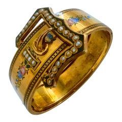Bracelet Bukle Antique 19th Century Yellow Gold 18 Karat Pearl and Enamel
