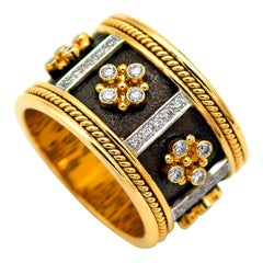 Dimos 18k Gold Byzantine Band Ring with Brilliant Diamonds