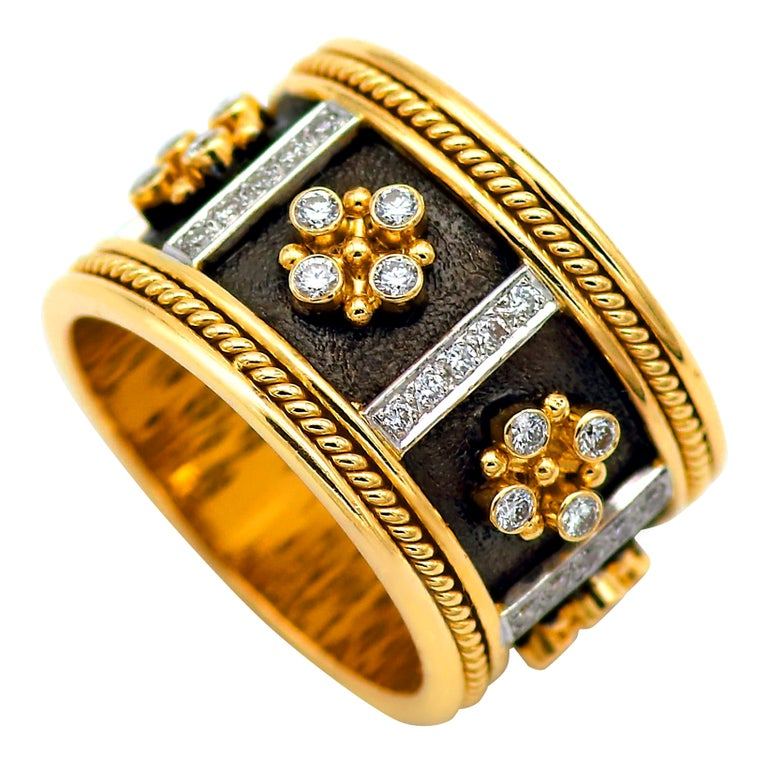 Dimos 18k Gold Byzantine Band Ring with Brilliant Diamonds For Sale