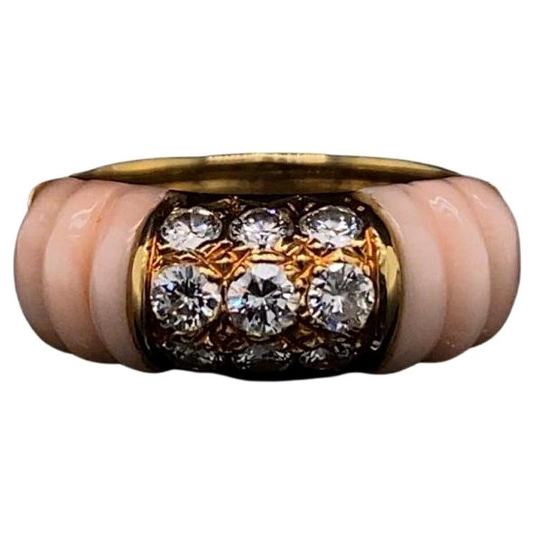 Vintage Mauboussin Angel Skin Coral 18 Karat Yellow Gold Diamond Ring For Sale