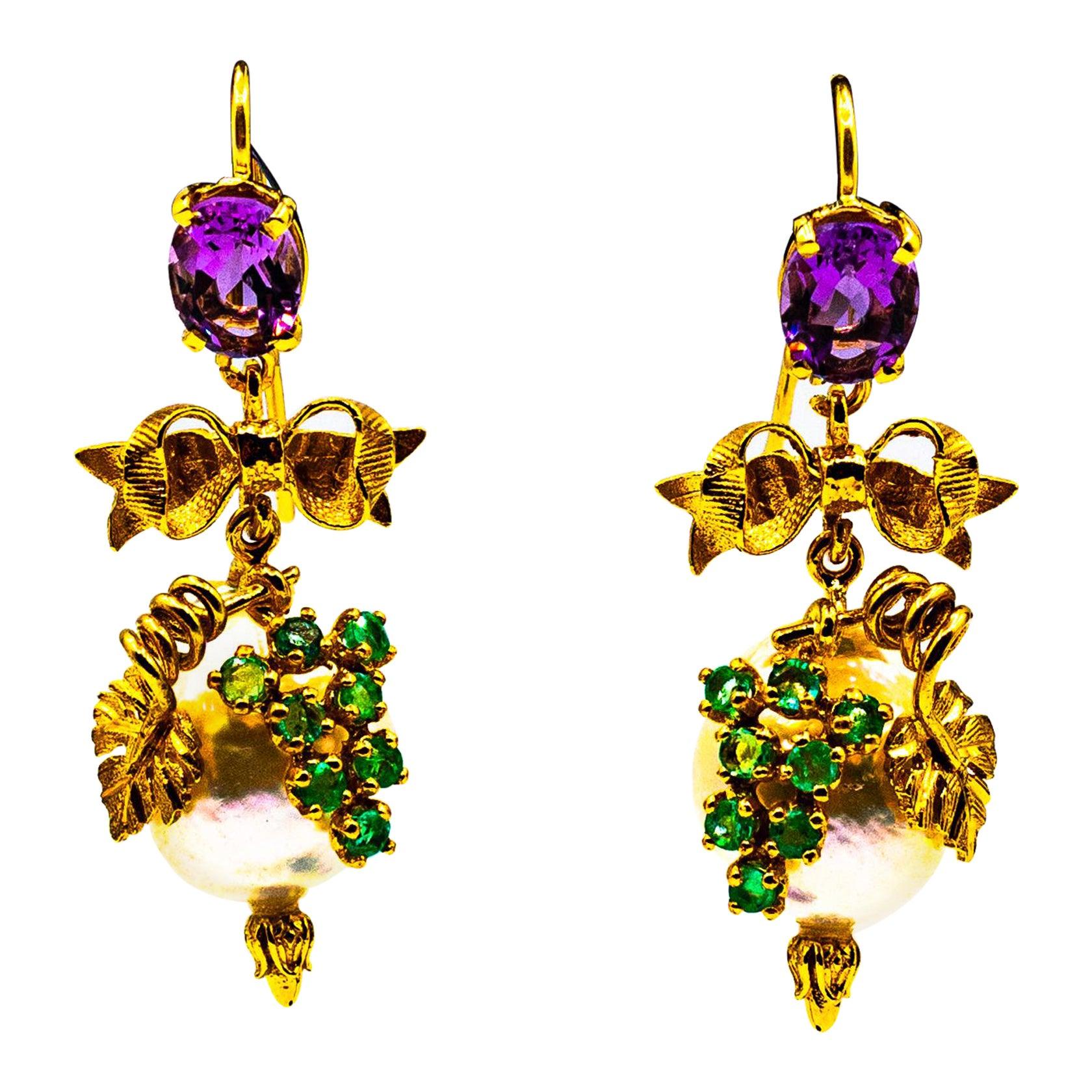 Art Nouveau Style Emerald Amethyst Pearl Yellow Gold Stud Drop Earrings