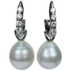 Detachable Pearl Diamond Gold Drop Earrings