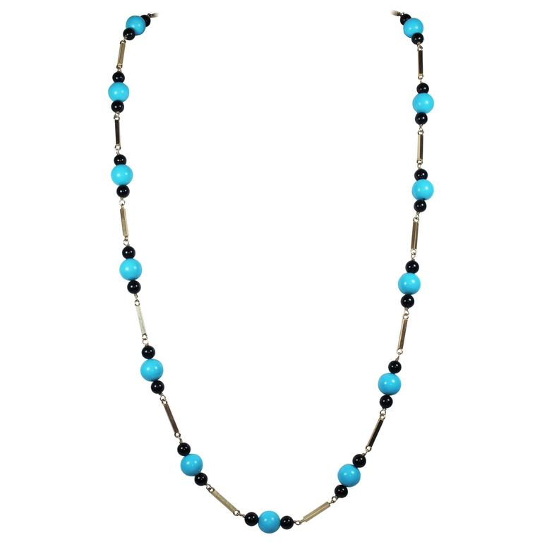 Onyx & Turquoise Bead 14 KT Yellow Gold Necklace or Double Strand Choker