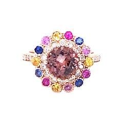 3.05 Carat Tourmaline Sapphire Diamond 14 Karat Rose Gold Cocktail Ring