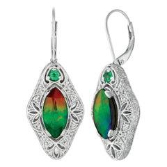 Weinman Charlotte Sterling Silver Emerald A Grade Earrings