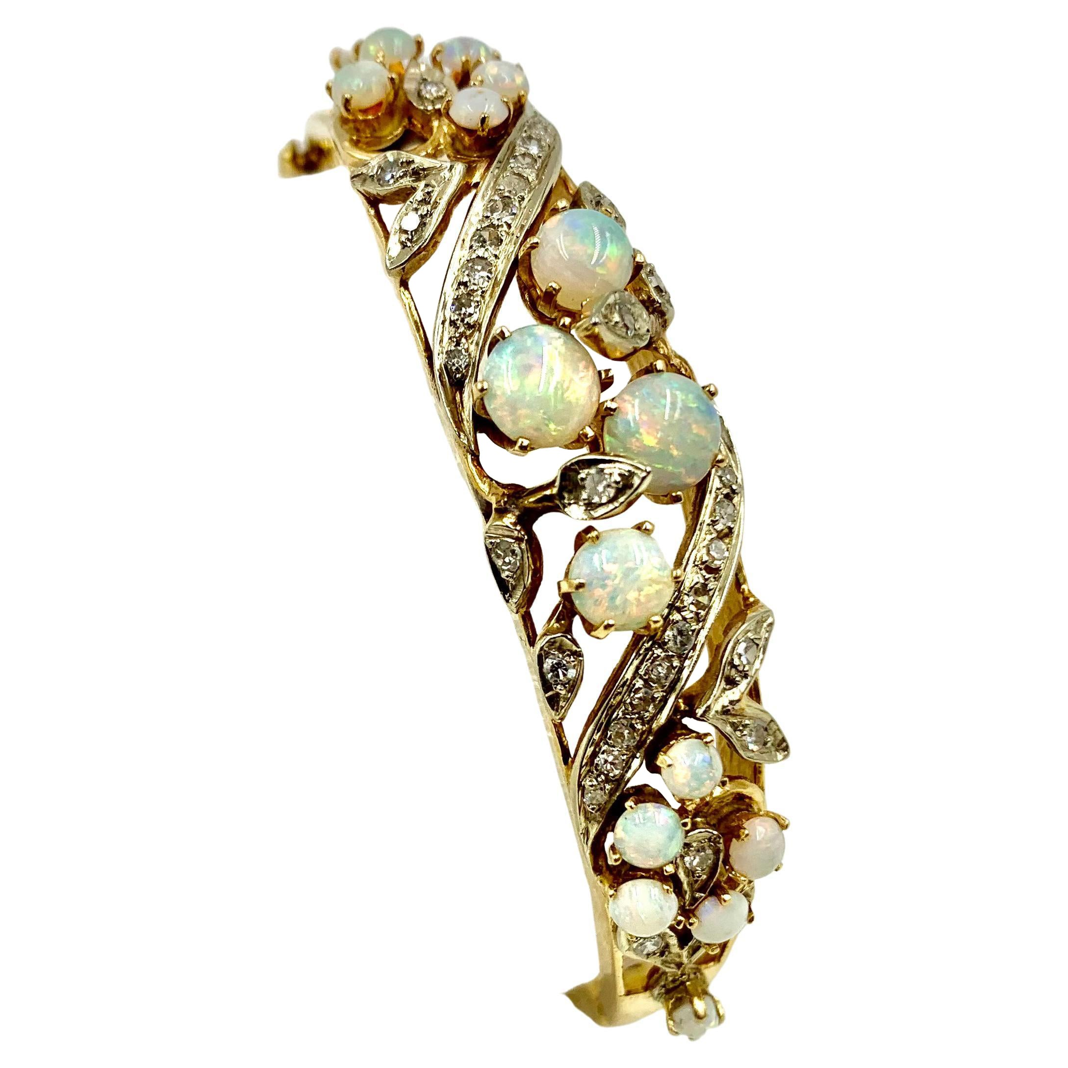 Antique Edwardian Diamond Opal 14K Gold Bracelet