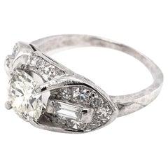 Art Deco 0.97 Carat Diamond Platinum Ring