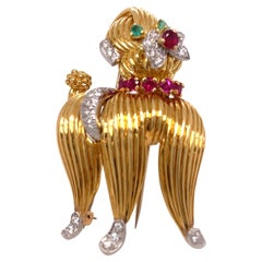 Tiffany & Co Yellow Gold Diamond Emerald and Ruby Poodle Pin