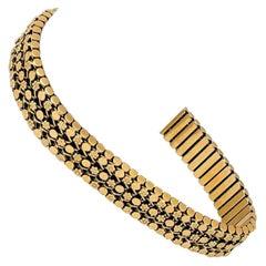 19 Karat Portuguese Yellow Gold Ladies Floral Fancy Link Bracelet
