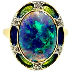 Art Nouveau Signed Durand & Co. Black Opal, Diamond, Ombre Enamel 18K Gold Ring