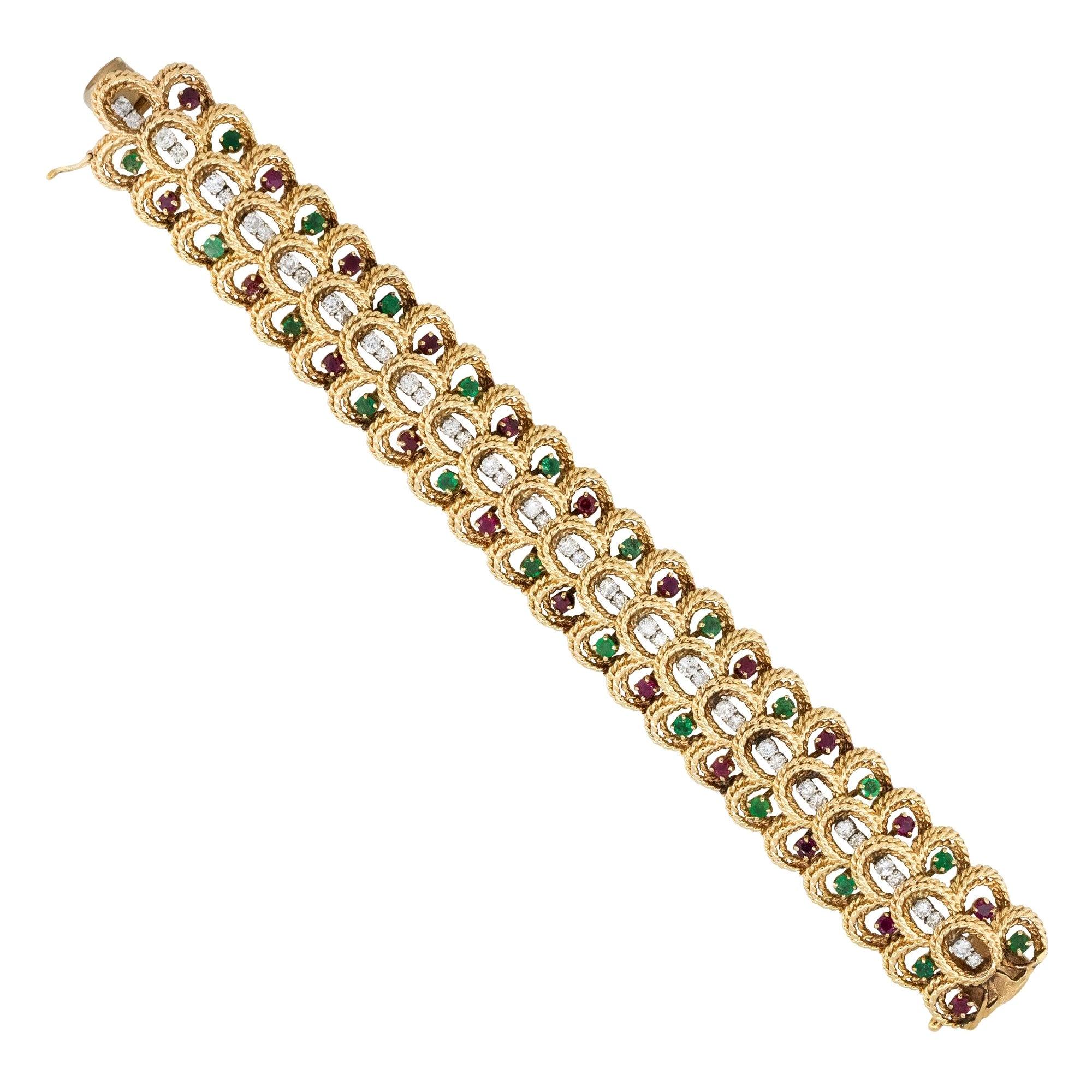 Multi Stone Vintage Rope Link Bracelet 14 Karat in Stock