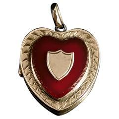 Art Deco 9 Karat Rose Gold Heart Locket, Pendant