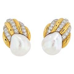 David Webb 18K Yellow Gold Diamond and Pearl Clip Earrings